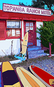 Surfboards Digital Art - Riders at Topanga Ranch Motel by Ron Regalado