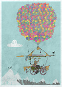 Balloon Digital Art Prints - Riding A Bicycle Through The Mountains Print by Andy Scullion