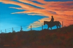 Montana Sky Posters - Riding Fence Poster by Jerry McElroy