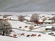Dog Paintings - Riding in the Snow by Vincent Haddelsey