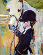 Impressionistic Horse Paintings - Riding Lesson by Patricia Calamari