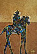Cowgirl And Cowboy Painting Originals - Riding Solo by Lance Headlee