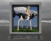 Surreal Digital Image Posters - Riding The Cow Whale Poster by Keith Dillon