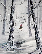 Mountain Biking Paintings - Riding the storm by Jean Walker