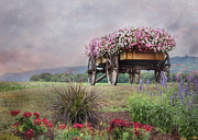 Floral Landscape Posters - Riding the Wagon Poster by Lori Deiter