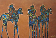 Cowgirl And Cowboy Painting Originals - Riding Three by Lance Headlee
