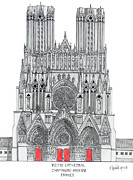 Historic Cathedrals Drawings Posters - Riems Cathedral Poster by Frederic Kohli