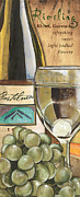 Glass Bottle Painting Posters - Riesling Poster by Debbie DeWitt