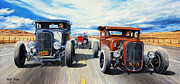 Ford Model A Framed Prints - Riff Raff Race 3 Framed Print by Ruben Duran