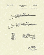 Gun Drawings Posters - Rifle 1932 Patent Art Poster by Prior Art Design