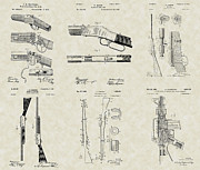 Technical Art Drawings Prints - Rifles Shotguns Patent Collection Print by PatentsAsArt