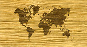 Vintage Map Digital Art - Rift Oak and Wenge World Map by Hakon Soreide