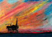 Sea Platform Painting Posters - Rig at Sunset Poster by R Kyllo