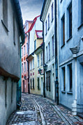 Lantern Digital Art Metal Prints - Riga Narrow Street Painting Metal Print by Antony McAulay