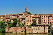 South West France Framed Prints - Righ bank of the medieval old town of Albi and Tarn river Framed Print by Julien Boe