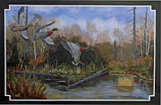 Crossbill Paintings - Right Heres Good by Rudolph Bajak