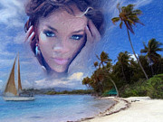 Billboard Digital Art Framed Prints - Rihanna Framed Print by Anthony Caruso