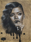 Rihanna Drawings - Rihanna Dripping Talent  by Fithy Abraham