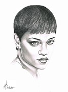 Pencil Drawing Posters - Rihanna Poster by Murphy Elliott