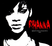Rihanna Mixed Media Framed Prints - Rihanna  Framed Print by Neil Dawson
