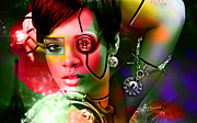 Rihanna Over Rihanna Print by Marvin Blaine
