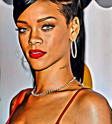 Rihanna Photos - Rihanna Portrait by Florian Rodarte