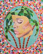 Postcard Painting Originals - Rihanna portrait painting in mosaic  by Jeepee Aero