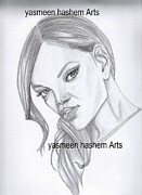 Rihanna Drawings - Rihanna portrait by Yasmeen Hashem