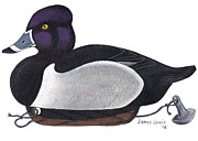 James Lewis Prints - Ring-neck Duck Decoy Print by James Lewis