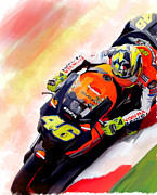 David Pucciarelli Collectible Art Drawings - Ring Of Fire Valentino Rossi by Iconic Images Art Gallery David Pucciarelli