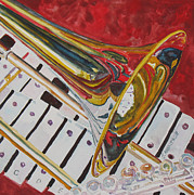 Jazz Band Prints - Ringing in the Brass Print by Jenny Armitage