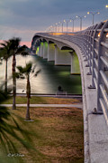 Ringling Bridge Posters - Ringling Causeway Bridge Overlook Poster by Sue Karski