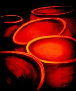 Hallowed Prints - Rings Of Fire - Cauldrons Print by Vivian ANDERSON