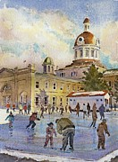 City Hall Painting Framed Prints - Rink at Kingston Market Square Framed Print by David Gilmore