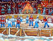 Hockey Rinks Paintings - Rink Hockey In The City Montreal Memories Outdoor Hockey Fun Street Scene Painting Carole Spandau by Carole Spandau