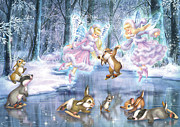 Fantasy Tapestries Textiles - Rink in the Forest by Zorina Baldescu