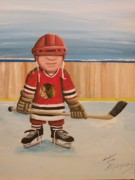 Hockey Player Paintings - Rinkrattz- Chicago  by Ron  Genest