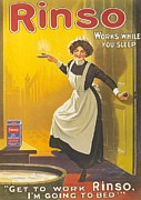 Nineteen-tens Prints - Rinso 1910s Uk Washing Powder Maids Print by The Advertising Archives