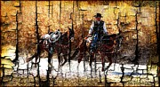 Las Cruces Art Prints - Rio Cowboy With Horses  Print by Barbara Chichester