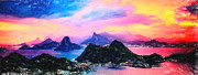 Difficulties Love Posters - Rio de Janeiro at dusk art Poster by MotionAge Art and Design - Ahmet Asar