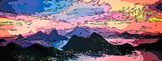 Drawing Art - Rio de Janeiro at dusk  pastel art by MotionAge Art and Design - Ahmet Asar