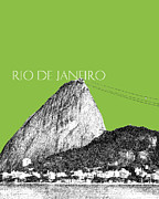 Rio De Janeiro Skyline Sugarloaf Mountain - Olive Print by DB Artist