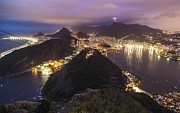 Christ Photo Prints - Rio Evening Cityscape Panorama Print by Mike Reid