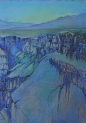 New Mexico Pastels Originals - Rio Grand Gorge AM by Linda Harrison-parsons