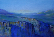 Evening Light Pastels Prints - Rio Grand Gorge PM Print by Linda Harrison-parsons