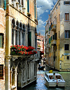 Red Geraniums Prints - Rio Menuo O De La Verona. Venice Print by Jennie Breeze