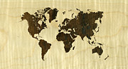 Mundo Prints - Rio Rosewood and Curly Maple World Map Print by Hakon Soreide