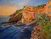 Riomaggiore Paintings - Riomaggiore Amore by Julie Brugh Riffey