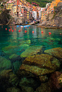 Cinque Terre Photos - Riomaggiore Bay by Inge Johnsson