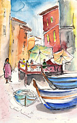 Townscapes Drawings - Riomaggiore in Italy 01 by Miki De Goodaboom
